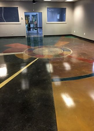 Polished concrete designs using stains, dyes or industrial floor coatings.